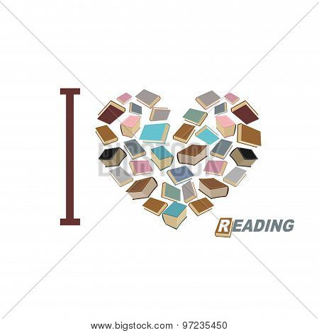 I Love To Read. Symbol  Heart Of  Book Reading. Many Book  Vector Illustration.