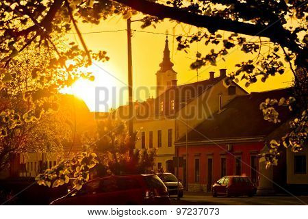 Eastern European Town Of Krizevci Golden Sunset