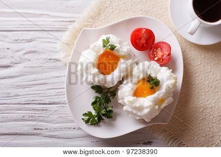 Breakfast Aristocrat: Eggs Orsini And Coffee Horizontal  Top View