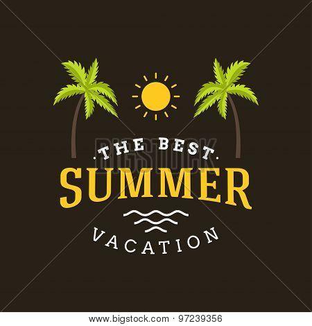 Summer Holidays Hipster Vintage Label Or Badge. Vector Design Element