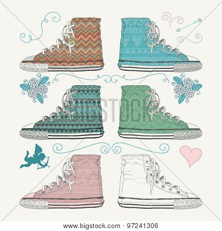 Variations of Sketched Sneakers. Vector Illustration.