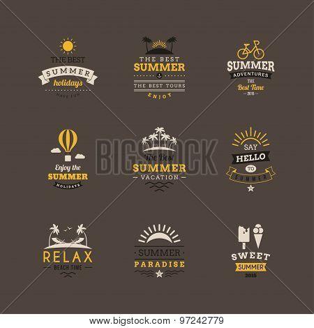 Set Of Retro Summer Holidays Vintage Label. Vector Design Elements