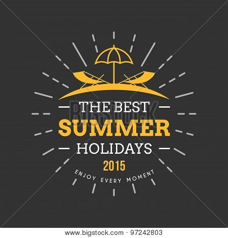 Retro Summer Holidays Vintage Label. Vector Design Elements