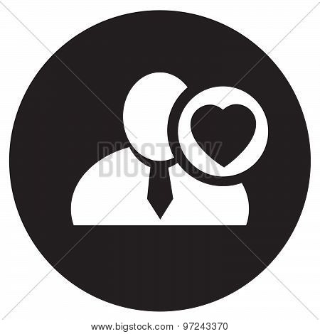 White Man Silhouette Icon With Heart Love Symbol In An Information Circle, Flat Design Icon In Black