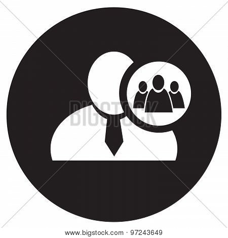 White Man Silhouette Icon With Referral Or Group Symbol In An Information Circle, Flat Design Icon I