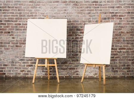 Pair Of Easel With Blank Canvas