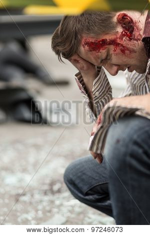 Bloody Man After Road Accident
