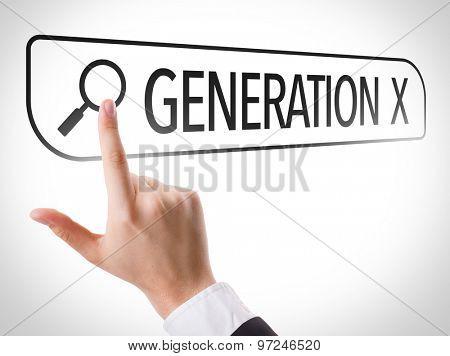 Generation X written in search bar on virtual screen
