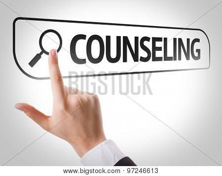 Counseling written in search bar on virtual screen