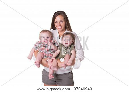 A mother and her fraternal boy/girl twins isolated
