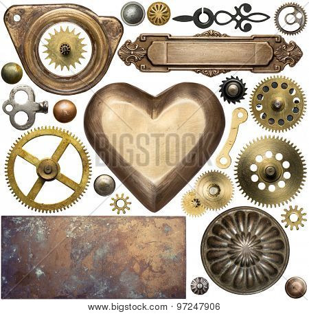 Vintage metal details, textures, clock gears. Steampunk design elements.