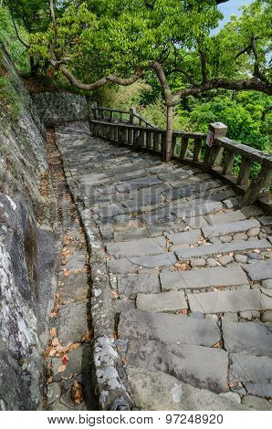 Stone Brick Ladder Walkway On Hill