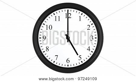 Realistic 3D clock set at 5 o'clock