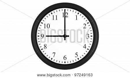 Realistic 3D clock set at 9 o'clock