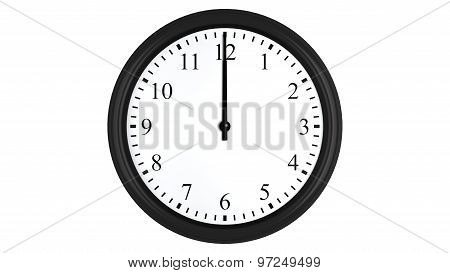 Realistic 3D clock set at 12 o'clock