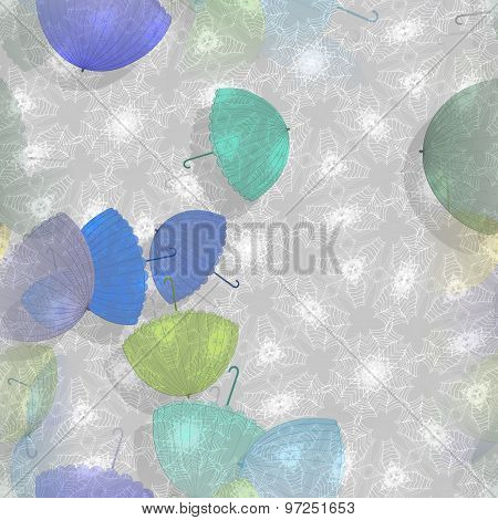 Seamless Ornate Background Or Pattern With Umbrellas