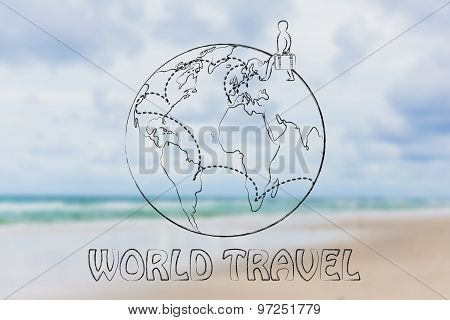World Travel: Man With Luggage And Travel Destinations Across The Globe