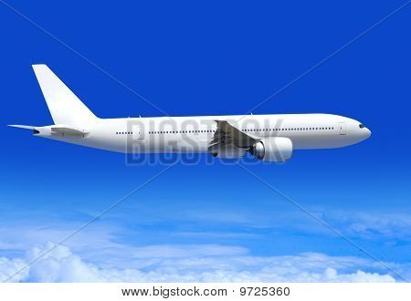 white passenger plane flies highly over clouds of aerosphere poster