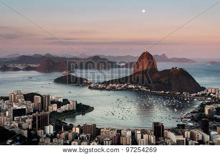 Sugarloaf Mountain with the Moon Above, Rio de Janeiro