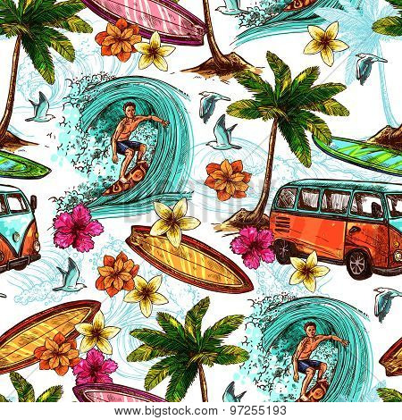 Surf Seamless Pattern