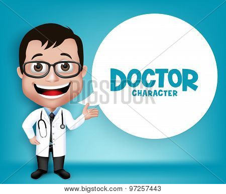 Realistic 3D Young Friendly Professional Doctor