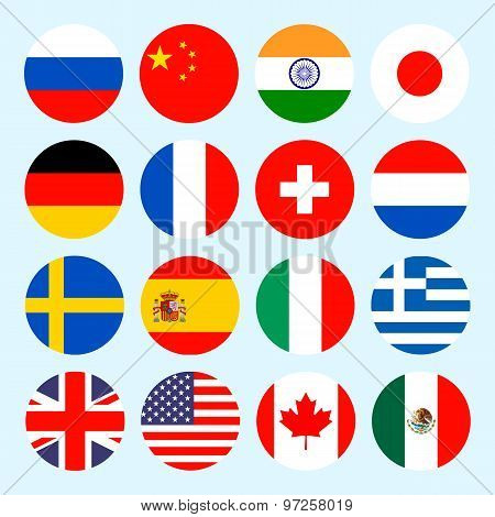 Circle flags vector of the world. Flags icons in flat style.