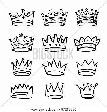 Set Of Black Hand Drawn Crowns