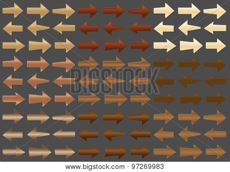 Vector Wooden Arrows. Set. EPS 8.