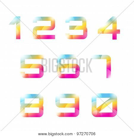 Vector 1-10 numbers font template. Count letters and sign design, school, creative icons or element,
