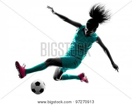 one teenager girl child  playing soccer player in silhouette isolated on white background
