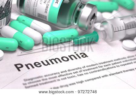 Pneumonia Diagnosis. Medical Concept. Composition of Medicaments.