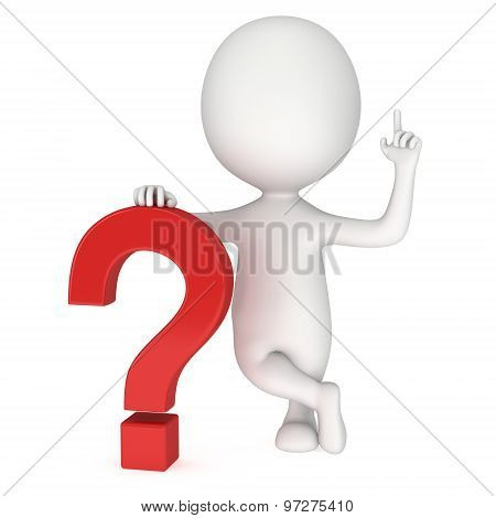 3D Man Near Red Question Mark