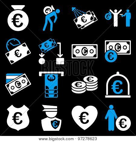 Euro banking business and service tools icons