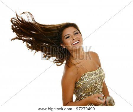 Teenage girl set against a white background