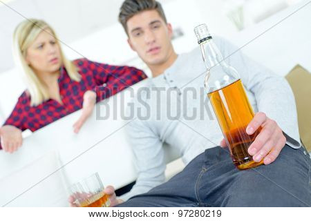 Woman angry that her boyfriend is drunk