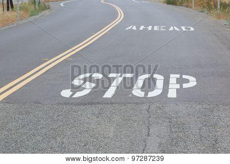Stop Ahead On Road