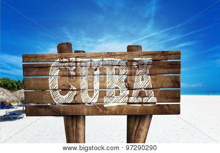 Cuba wooden sign on the beach