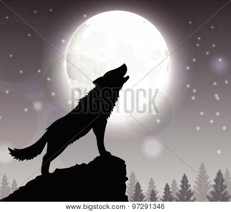 Silhouette of a wolf standing