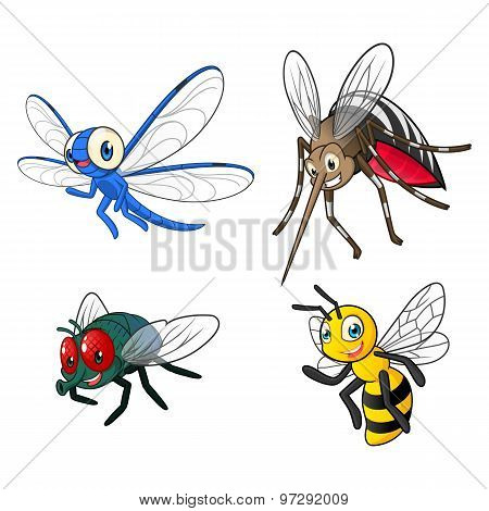 Insect Cartoon Character Vector Illustration Pack Two Include Dragonfly, Mosquitoes, Fly and Bee