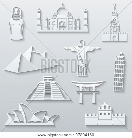 World landmarks, abstract flat paper icons set