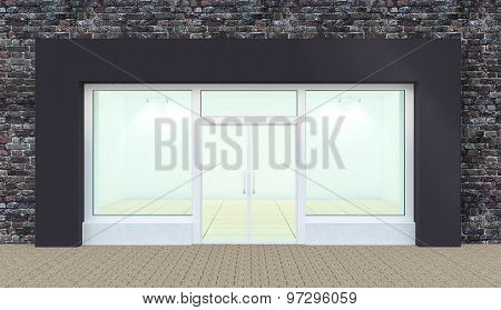 Empty Store Front With Big Windows