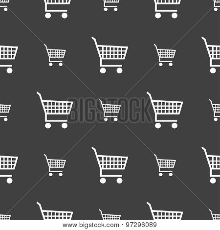 Shopping Cart Icon Sign. Seamless Pattern On A Gray Background. Vector