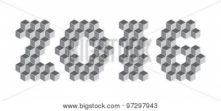 2016 digits from isometric cubes for calendars. Pseudo three dimensional. Vector illustration poster