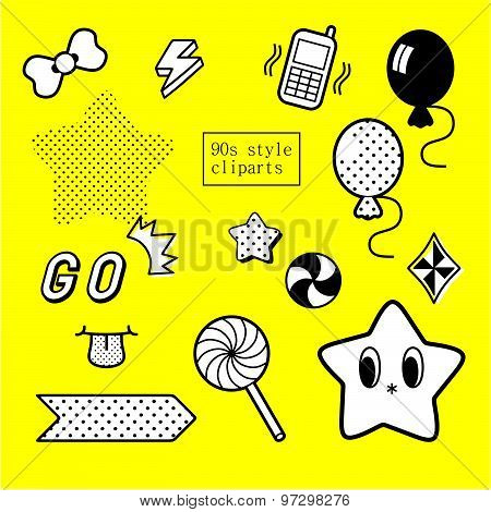 90s design inspired decorative clipart set in black and white poster