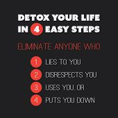 """Inspirational quote. """"Detox your life in 4 easy steps. Eliminate anyone who 1. Lies to you, 2. Disrespects you, 3. Uses you, or 4. Puts you down."""" on a black background poster"""