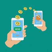Hands holding smartphones.  Banking payment apps.  People sending and receiving money wireless with their mobile phones.  Flat style vector icons. poster