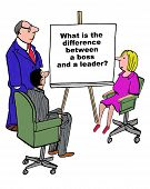Business cartoon showing three businesspeople in a meeting and a chart that reads, 'What is the difference between a boss and a leader?'. poster