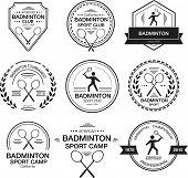 Set of different logotype templates for badminton. Vector flat design style illustration of icons for postcard personal card or print. Badminton symbols including racket silhouette of a man serving poster