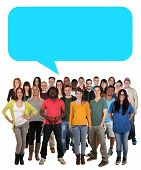 Multi ethnic group of smiling young people talking with speech bubble and copyspace poster