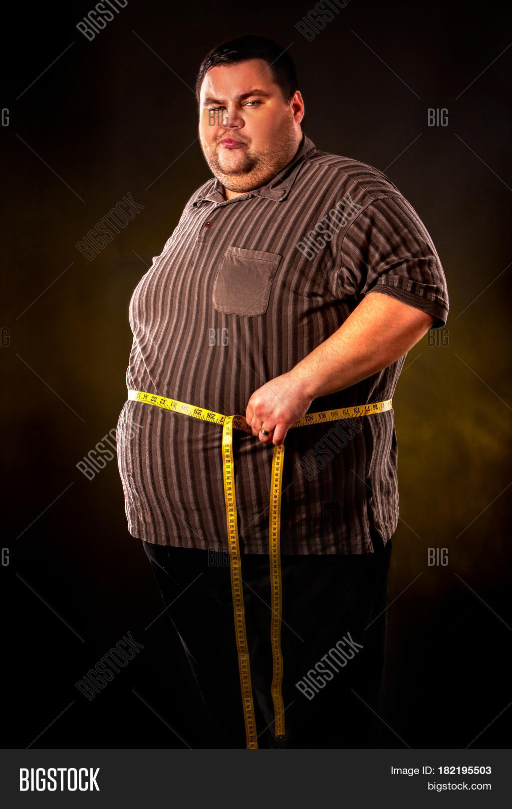 Man Belly Fat Tape Image Photo Free Trial Bigstock